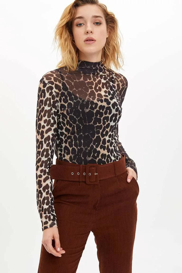 Bej Kadin Slim Fit Dik Yakali Uzun Kollu T Shirt 1122541 Defacto 2020 Uzun Kollu Kadin Fit