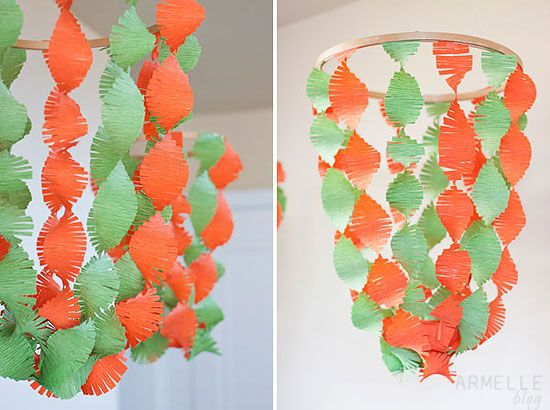 Armelle Blog DIY Fringe Chandelier Party Decoration Crepe Paper Switch Up Colors For Different Holidays