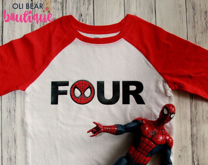 Spiderman Birthday Shirt Superhero 4th Four ShirtBoy 4 Boy