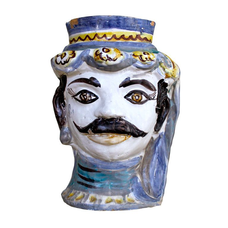 Italian Ceramic Head Planter by  Giacomo Alessi --- 1940s