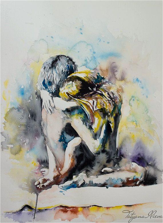 Watercolor Print Digital Art Print Of Couple In By Tatyanailieva Digital Art Prints Watercolor Print Art
