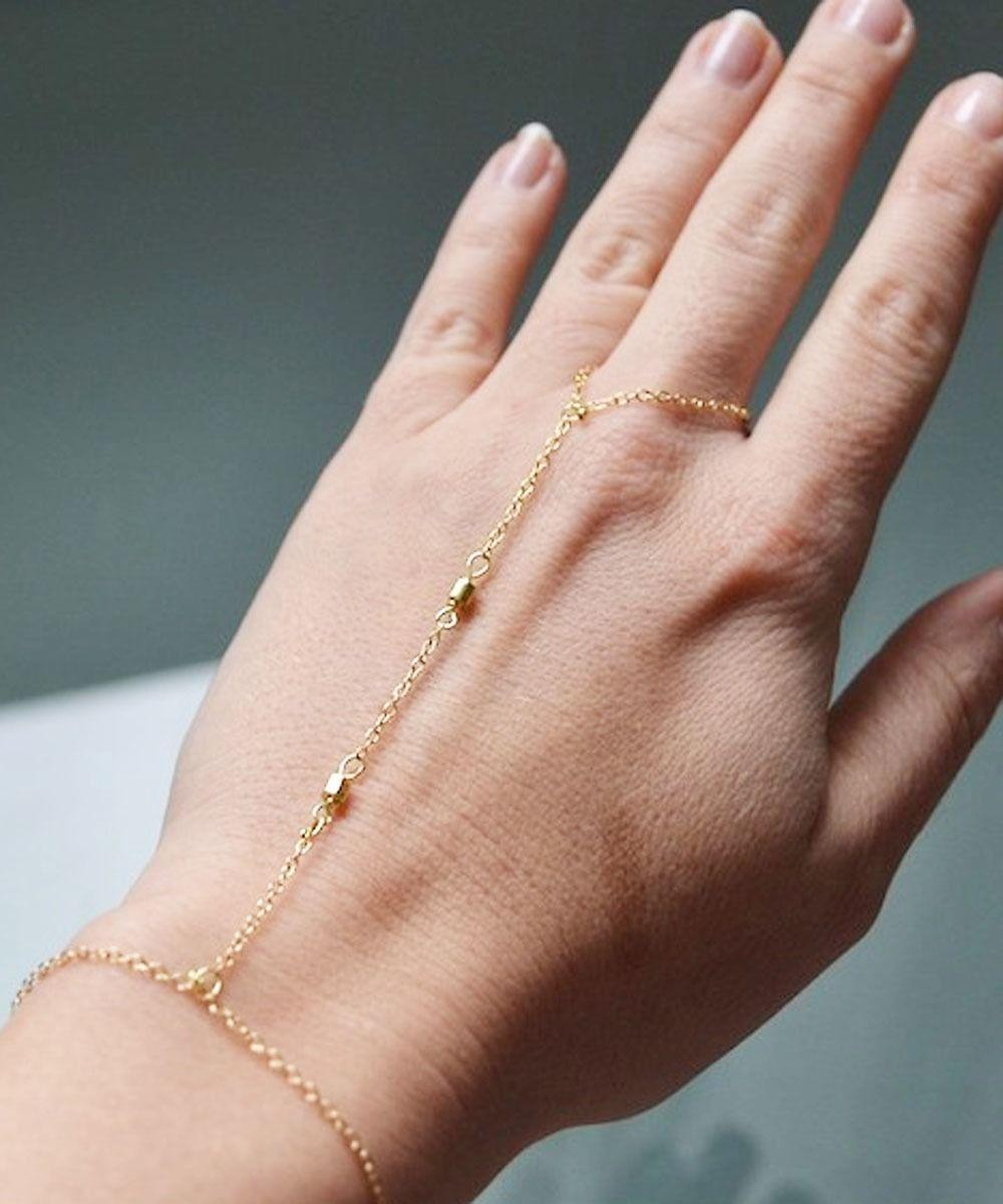 Ring Bracelet 14k Gold Slave Hand Chain Finger