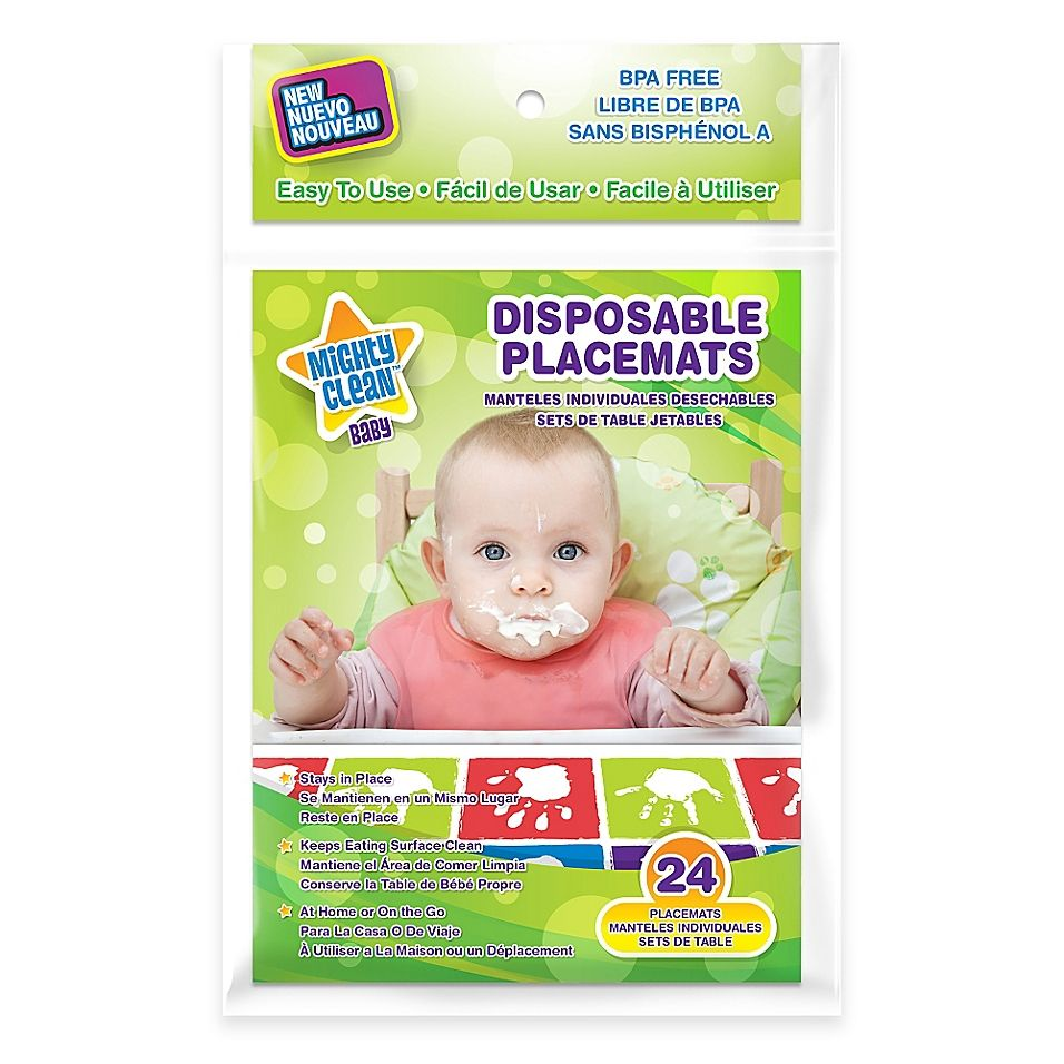Mighty Clean Baby 24 Pack Disposable Placemats Bed Bath Beyond Placemats Baby Handprint Biodegradable Products