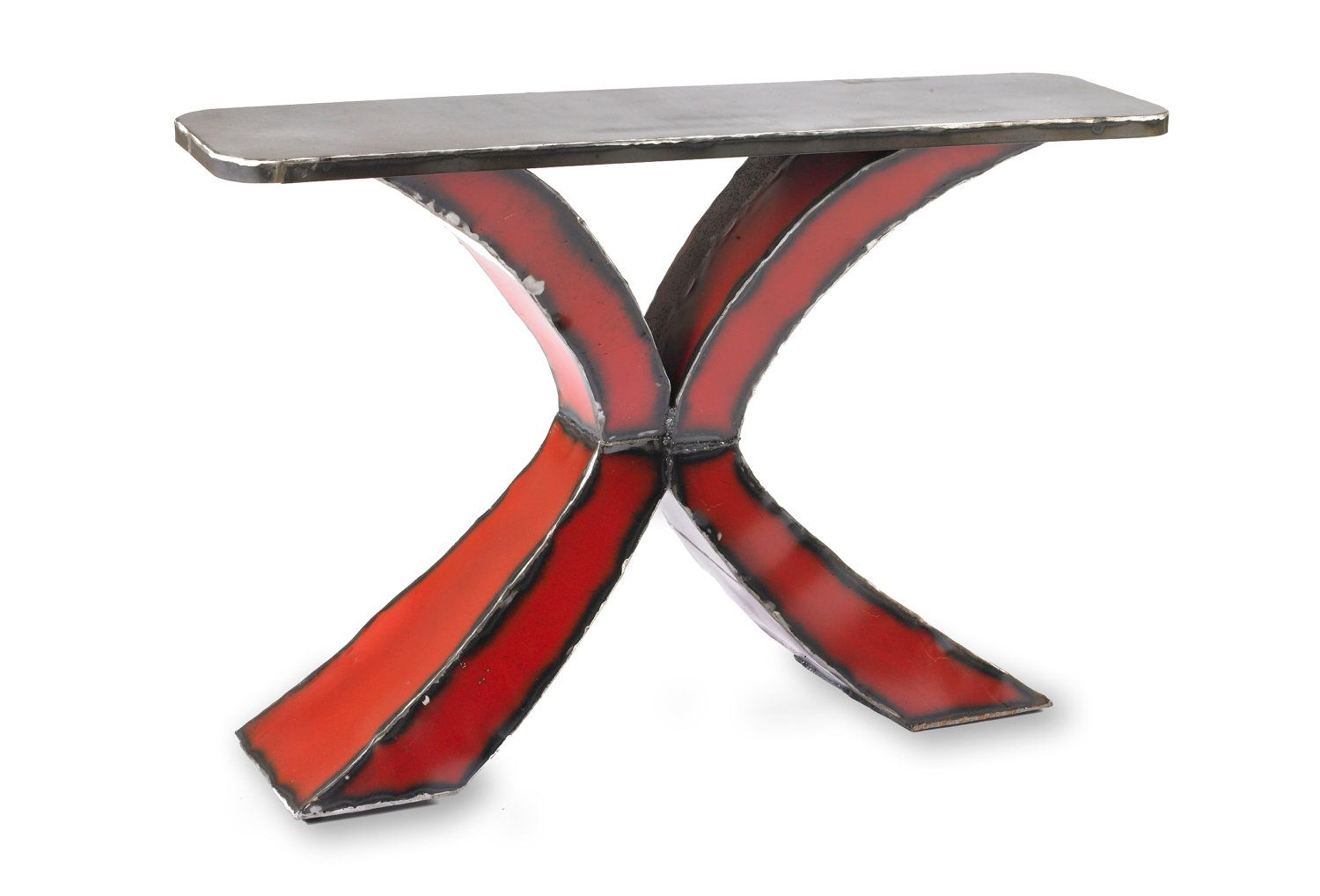 Metal table red x console 220000 via etsy things to make metal table red x console modern red entry or console table geotapseo Gallery