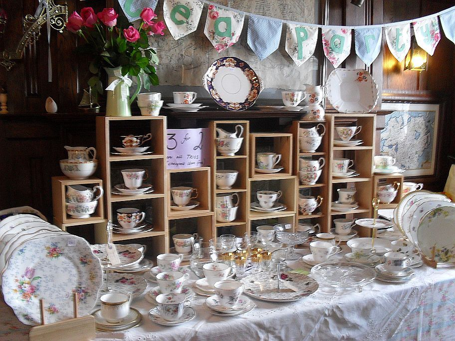 vintage tea party, gorgeous china sets... Nice idea for a hens night or a garden wedding reception... Think Alice in Wonderland's mad hatter's tea party!