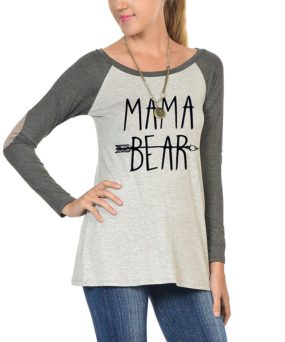 Charcoal & White 'Mama Bear' Elbow-Patch Raglan Tee