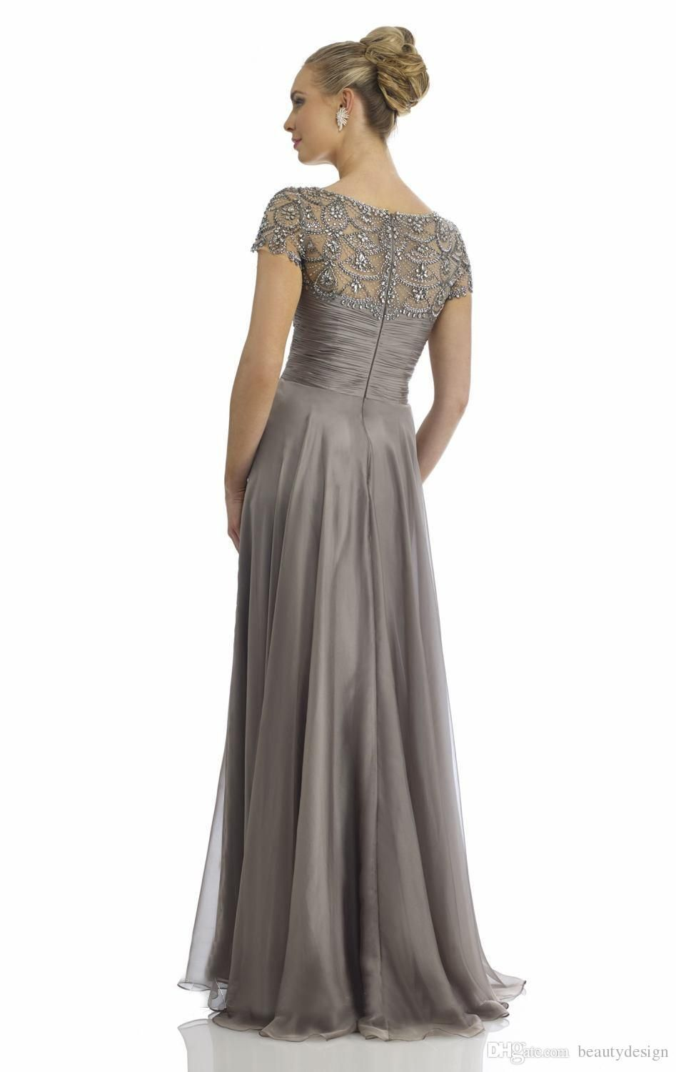 f66f67fb33 2016 formal mother off the bride dresses A line floor length cap sleeves  exquisite sequins beaded