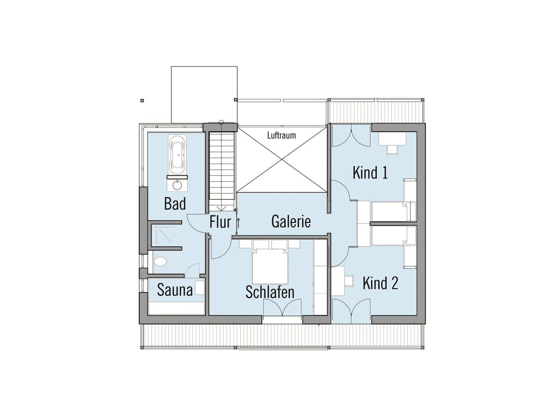 Grundriss attic sample house Alpenchic Baufritz Baufritz
