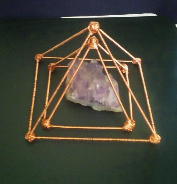 Double Pyramid Set/ Copper Pyramid/ Crystal charging Station