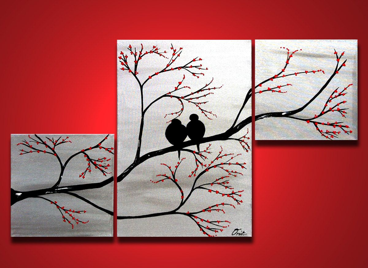 Love birds in tree brance original large wall art 40 x 24 for Big painting ideas
