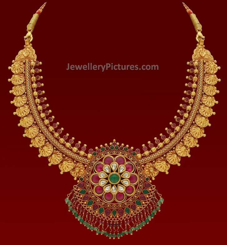 Antique necklace and antique finish necklaces Latest designs | gold ...