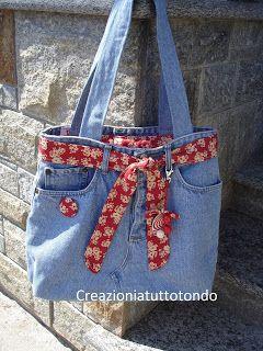 Creazioni a tutto tondo borsa di jeans recupero jeans for Appendi borse fai da te