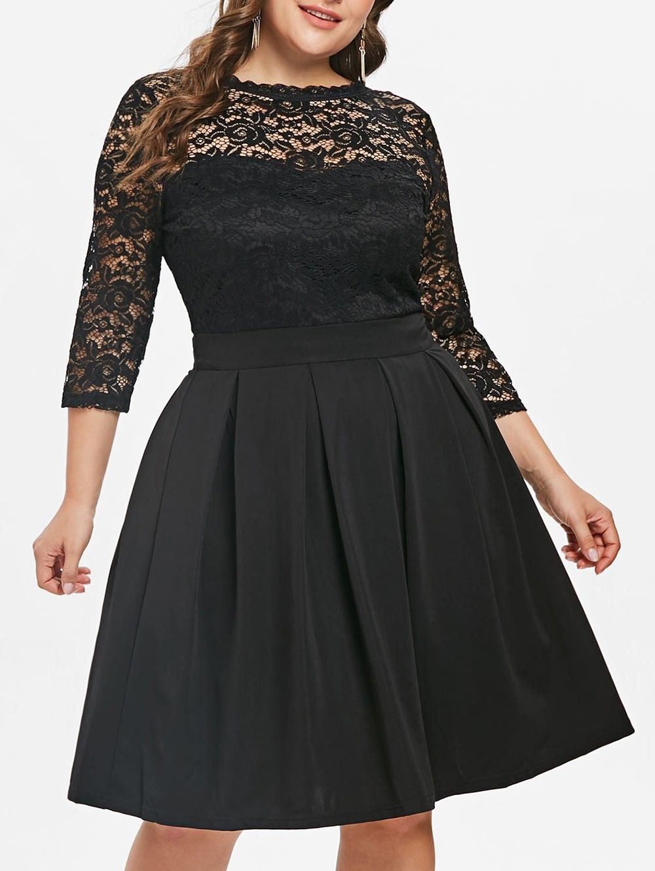 Round Neck Lace Panel Black Dress