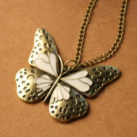 New...Long butterfly necklace Nice inlay detail. Alloy material. Long, link chain. Threadz Jewelry Necklaces