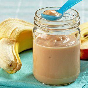 Papilla De Plátano Pera Y Naranja Papilla De Frutas Recetas De Comida Para Bebés Comida Para Bebé