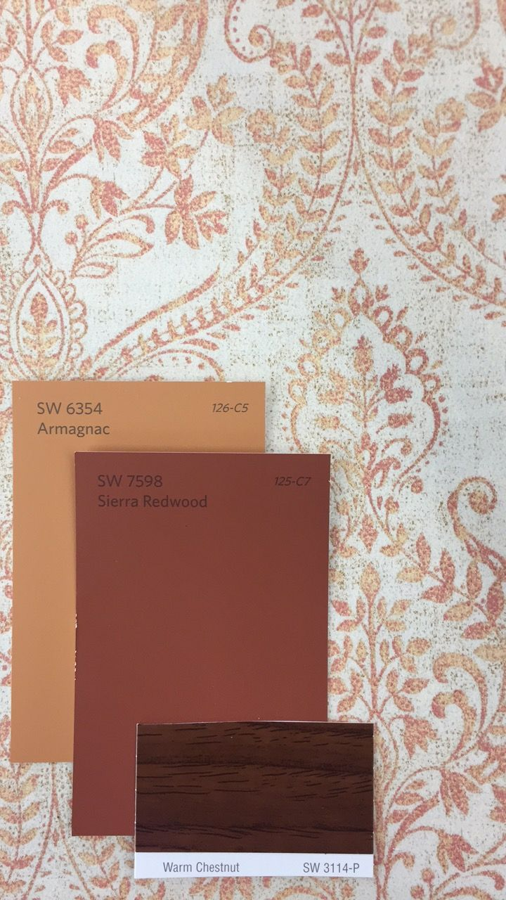 Rustic Paisley Sw 6354 Armagnac Sw 7598 Sierra Redwood Sw 3114 Warm Chestnut Colorful Interiors Sherwin Williams Colors Paint Matching