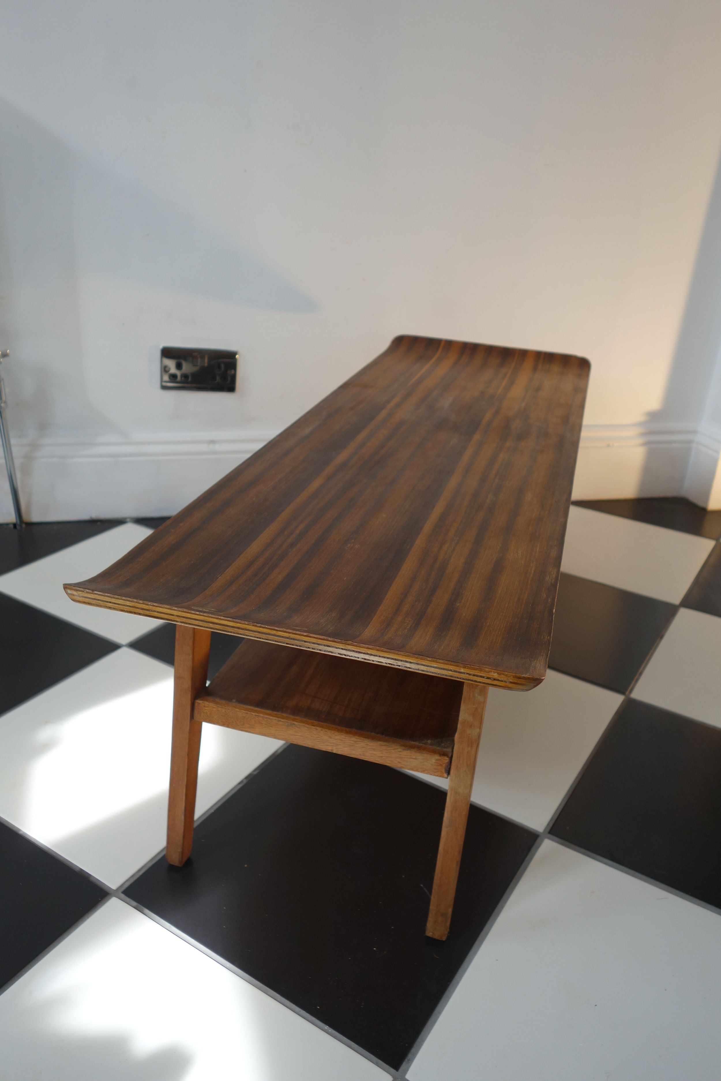 Retro Vintage Mid Century Myers Sleigh Coffee Table With Shelf 1960s 70s