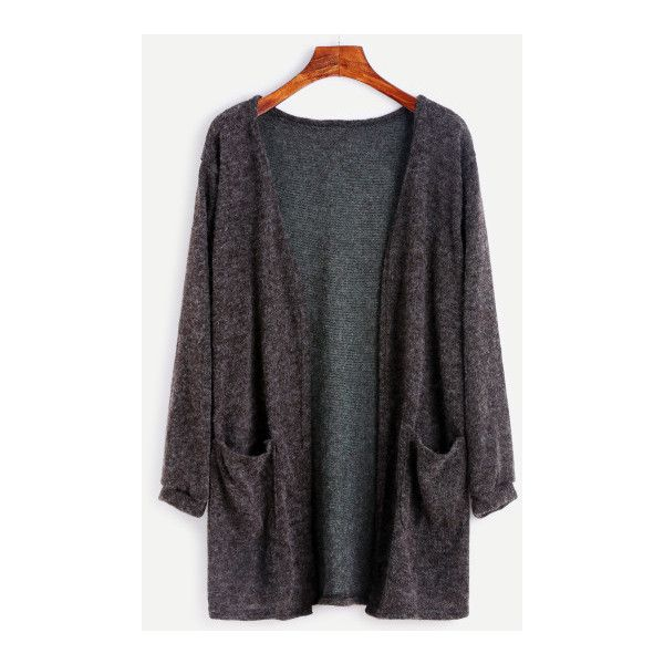 SheIn(sheinside) Dark Grey Fuzzy Cardigan (£12) ❤ liked on ...