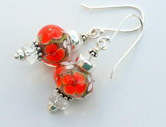 Orange Tropicals artisan lampwork and sterling by LibertyOriginals