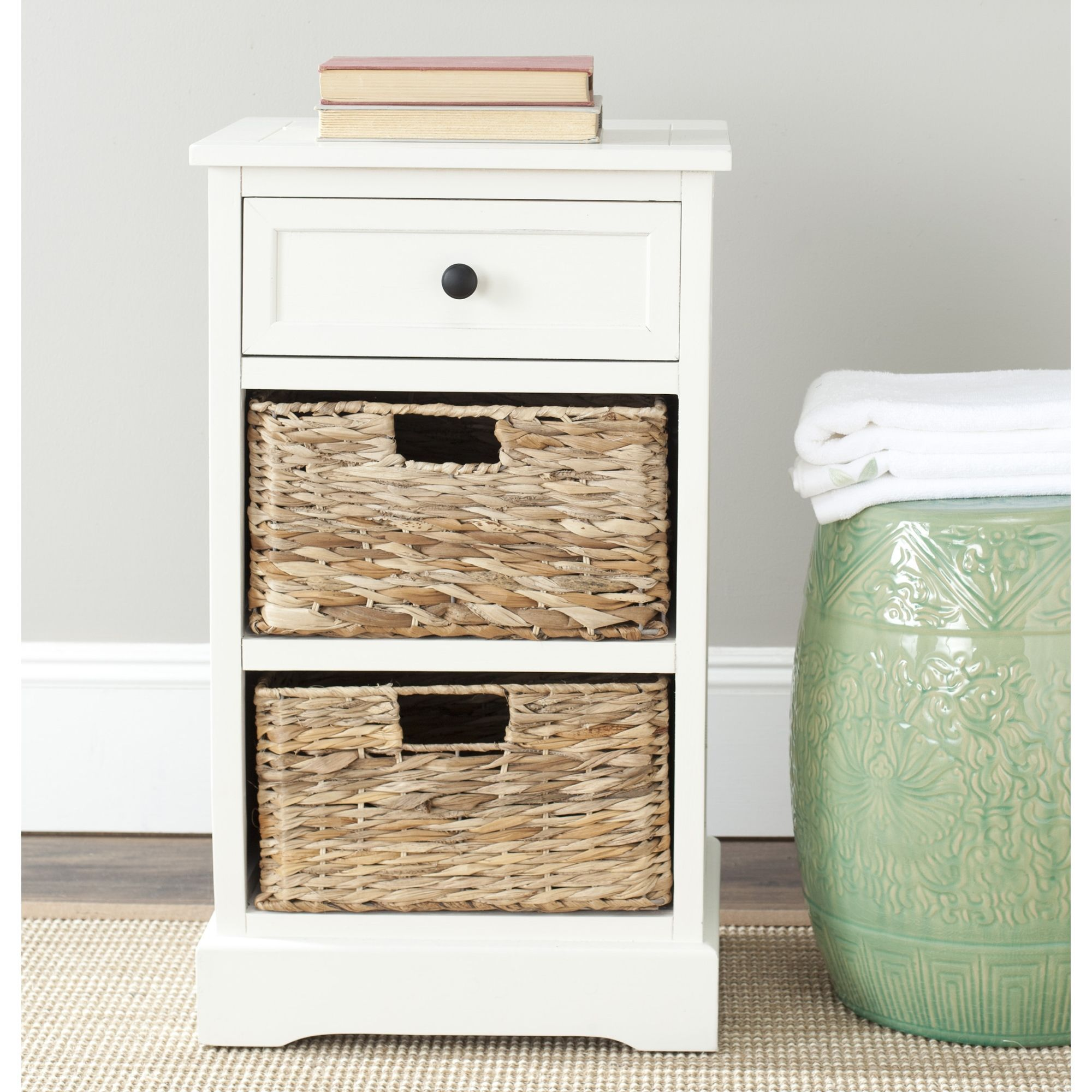 cape cod 3-drawer cream storage table features a contemporary