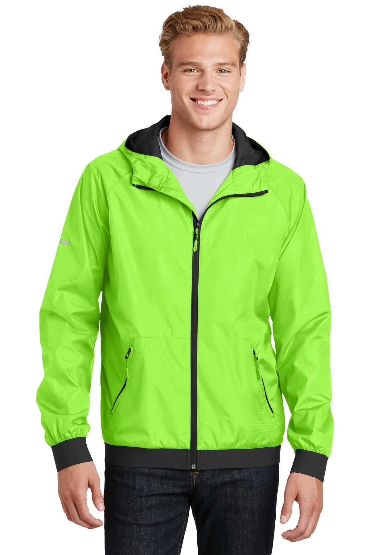 SportTek Embossed Hooded Wind Jacket. JST53 Wind jacket