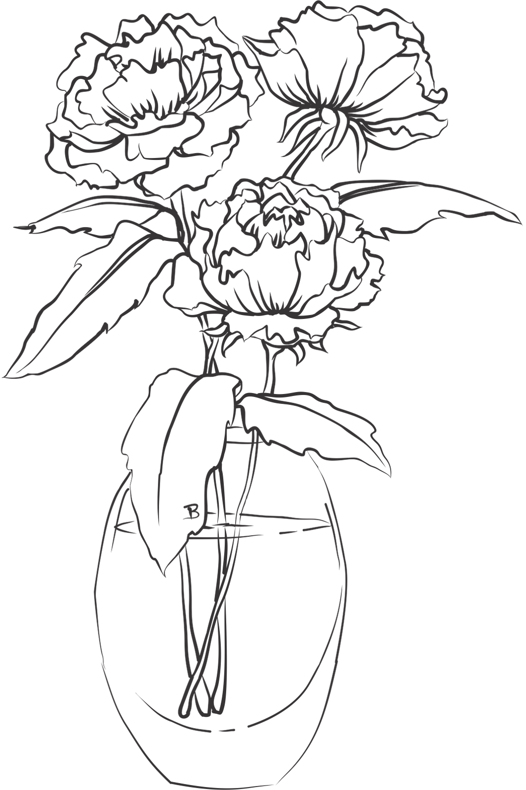 Peonies In A Vase With Images Coloring Pages Flower Drawing Drawings