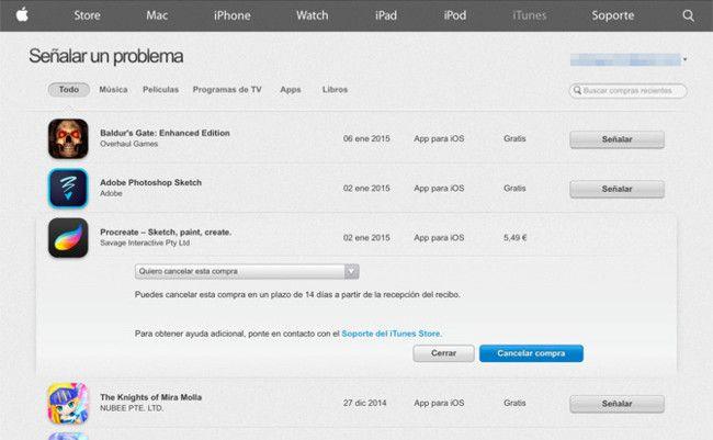 Cómo devolver una app o cualquier compra digital de la