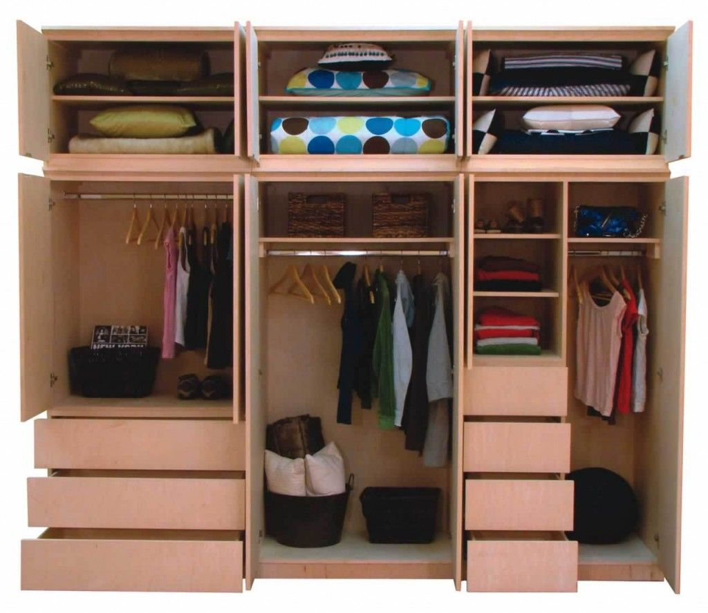 Creative cupboard design with brown shelving unit finished Rooms without closets creative