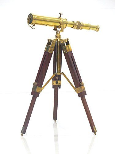 18 inch Nautical Marine Spyglass Brass Telescope On Wooden Tripod Stand