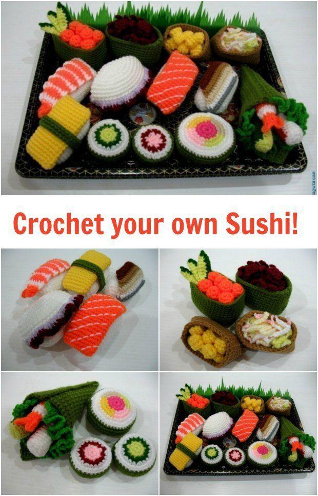 Amigurumi Sushi Play Foods Set Crochet Fun Gehäkelte Lebensmittel