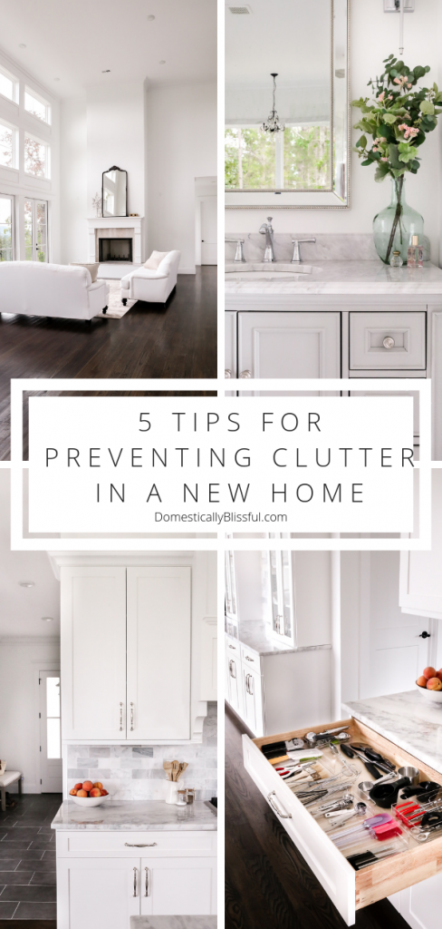 5 tips for preventing clutter in a new home while unpacking from a move. | Cleaning tips for a new home with organizing hacks that will help you declutter your life! | Moving hacks & unpacking tips to help you quickly get settled into a home home.