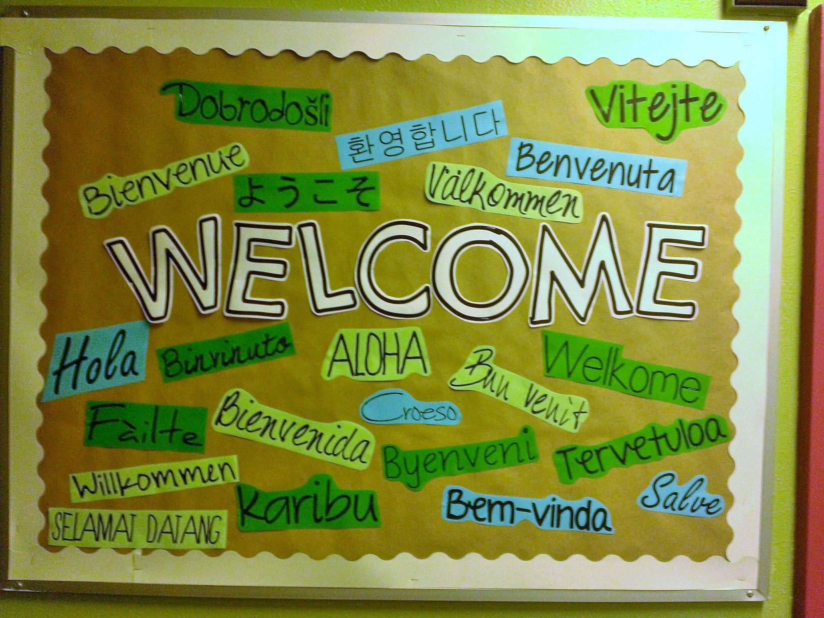 Multilingual Welcome Poster Featuring The Word Welcome In A
