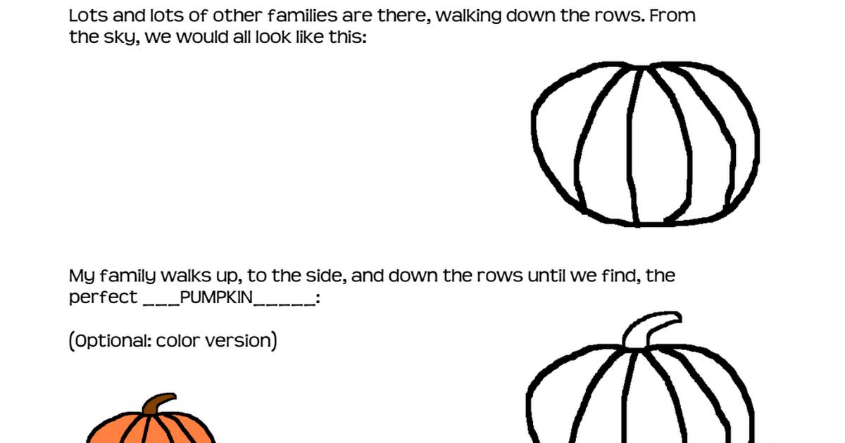 The Pumpkin Patch Pdf Pdf Pumpkin Patch Pumpkin First Grade Art