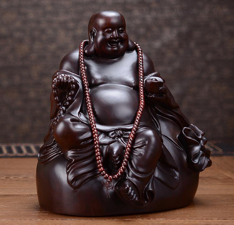 statue artisanale en bois de santal du bouddha maitreya ou bouddha rieur statue de bouddha. Black Bedroom Furniture Sets. Home Design Ideas