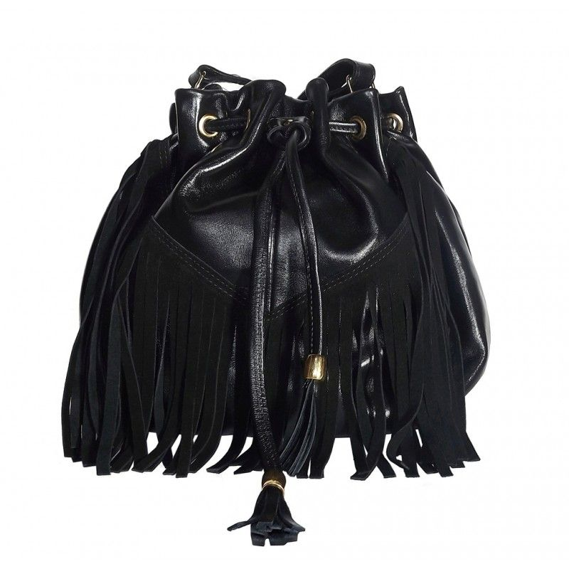 8def196ab Bolsa Saco de Franjas Preta de Couro Catri Fashion, Black, Leather Folder,  Leather