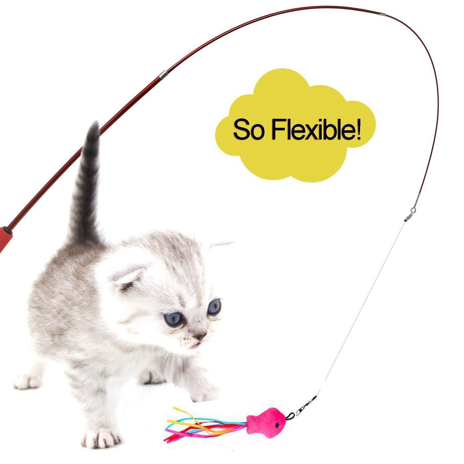 Cat Wand Feather Toys Retractable Interactive Cat Tease Toys With 8 Refills Feathers Birds Worms Fish For Cats Kitt Cat Toys Cats And Kittens Kittens