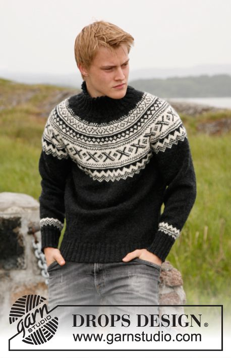 Knitted DROPS jumper for men with round yoke and Norwegian pattern ...