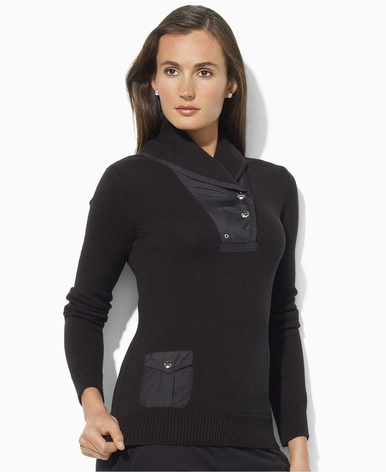 a0714444e Lauren Ralph Lauren Petite Sweater, Diverda Long-Sleeve Shawl-Collar ...
