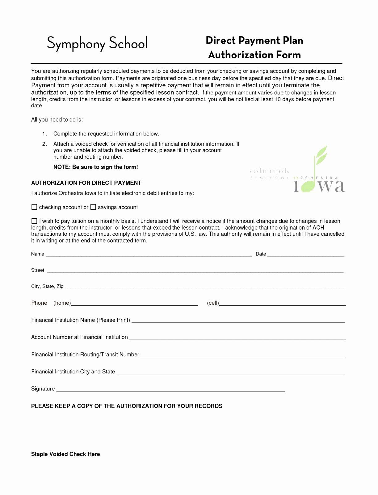 Payment Authorization Form Template Elegant 5 Automatic Payment