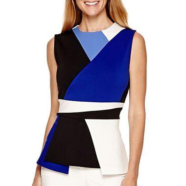 74c18dc86f34f7 jcpenney.com | Worthington® Sleeveless Colorblock Peplum Top ...