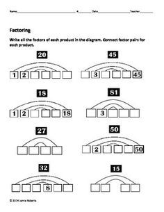 Factoring and Greatest Common Factors review worksheets. Great for ...