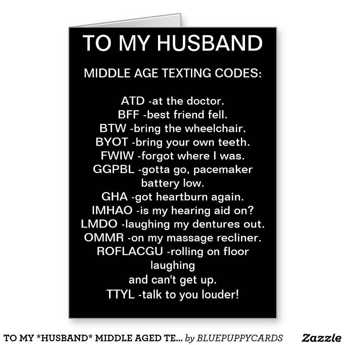 To My Husband Middle Aged Texting Birthday Card Greeting Cards