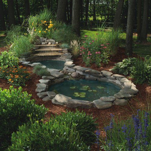 Sunterra waterfall gardens complete pond kit two ponds for Fish pond kits
