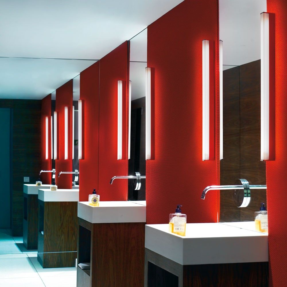 A long fluorescent vanity light mounted on either side gives the a long fluorescent vanity light mounted on either side gives the most even lighting for a bathroom featured product toilet vanity light aloadofball Choice Image