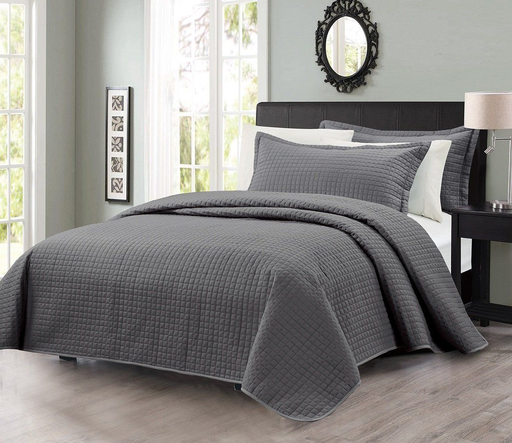pcs solid modern quilted coverlet set (king charcoal  ease  - pcs solid modern quilted coverlet set (king charcoal
