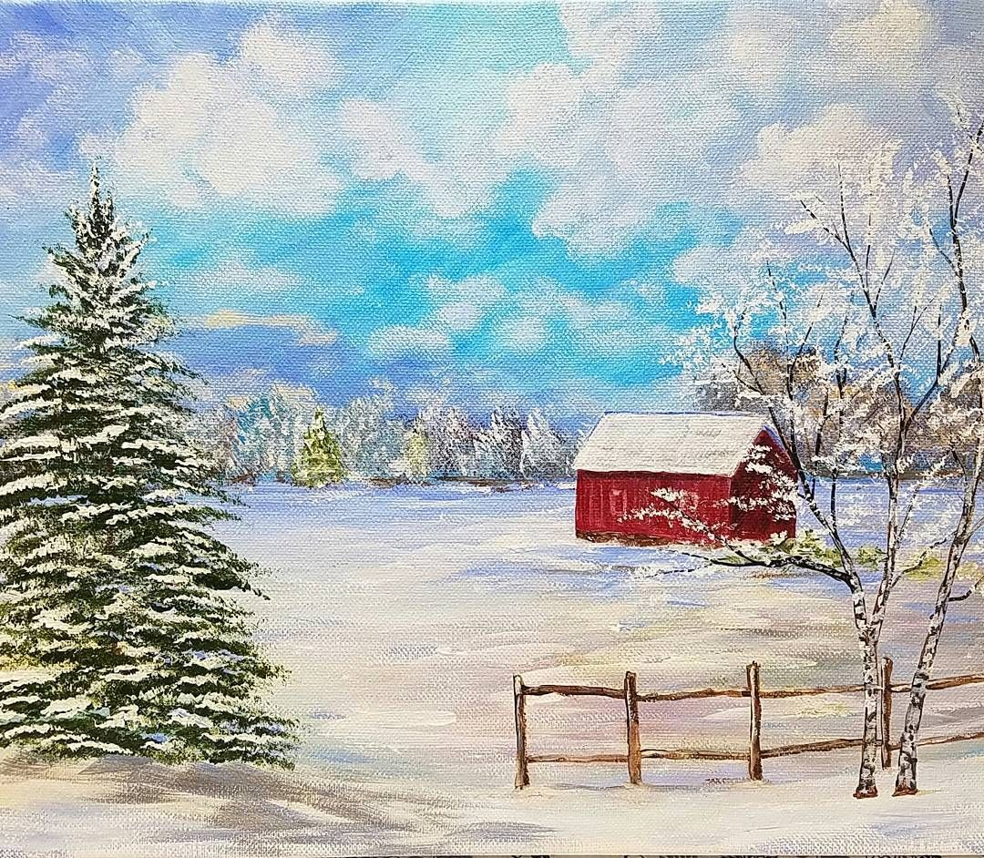 Winter Landscape Acrylicpainting By Angelafineart On Youtube Beginner Snowy Winter Land Winter Landscape Painting Landscape Painting Tutorial Barn Painting