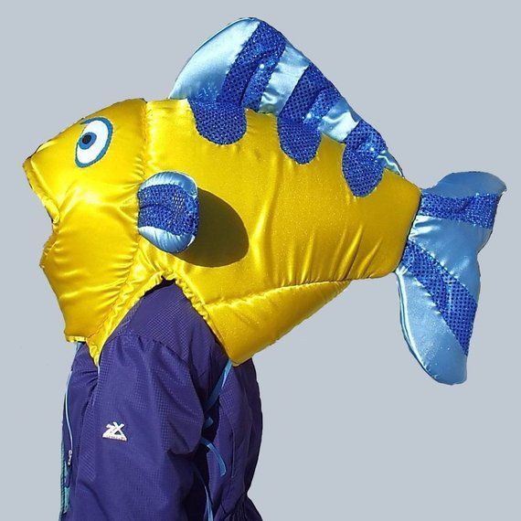 lined Fish Costume  Fits Adult or Child  Satin covered foam head with underarm ties