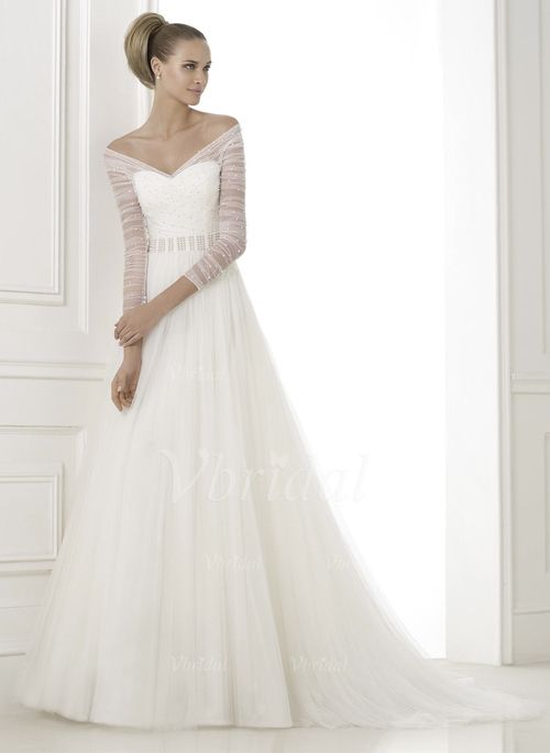 A-Line/Princess V-neck Off-the-Shoulder Court Train Tulle Wedding ...
