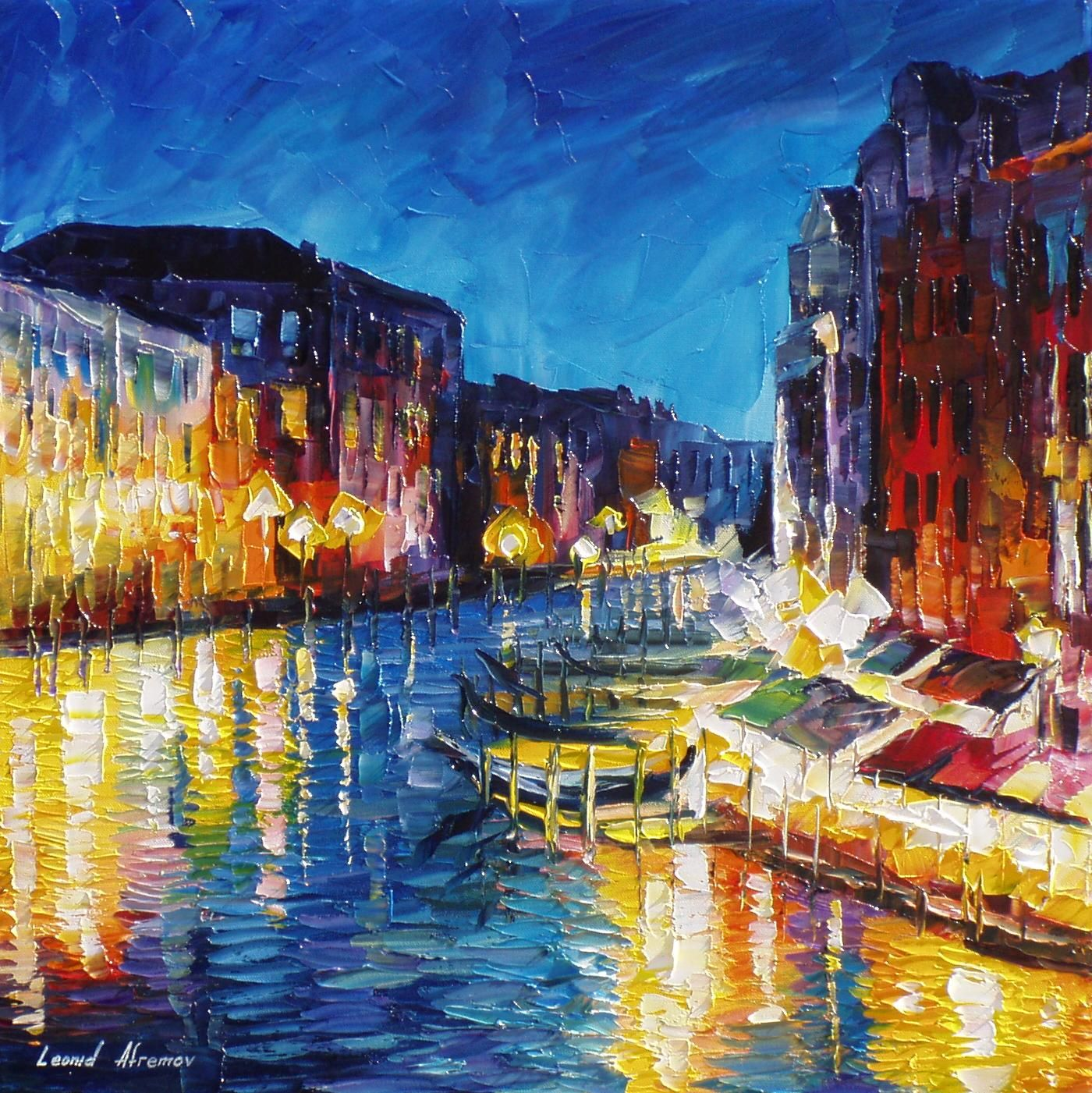 VENICE IN COLOR PALETTE KNIFE Oil Painting On Canvas By Leonid Afremov