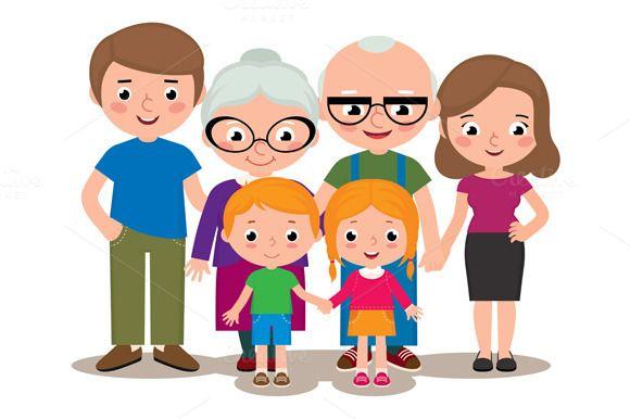 c662e47eb Family parents grandparents children by Julia's illustrations on Creative  Market